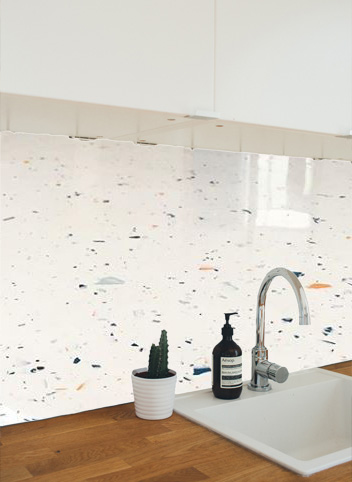 terrazzo as walls and backsplashes